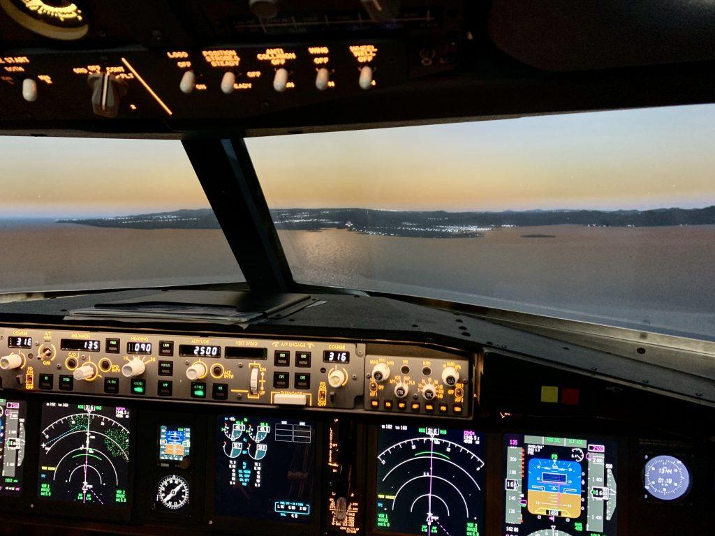 737-800 Fixed Base Simulator approaching Mauritius at sunset
