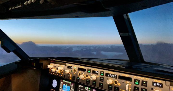 Sunset over Eastern Europe from our Boeing 737